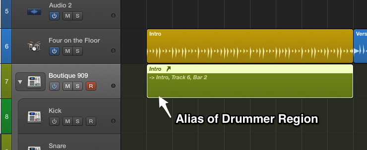 Shift-Option drag Drummer region to create an alias