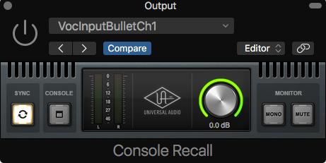 Universal Audio Console Recall plugin